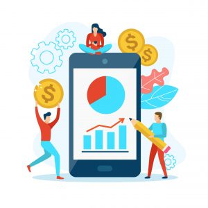Business people with a mobile phone and dollar coins. Digital information chart and statistic on the screen. Vector illustration