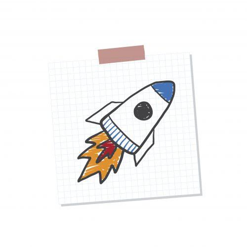 Rocketship start up note illustration